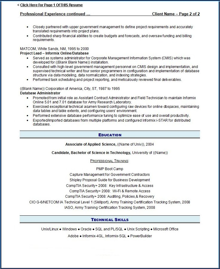 previous resume - Examples Of 2 Page Resumes