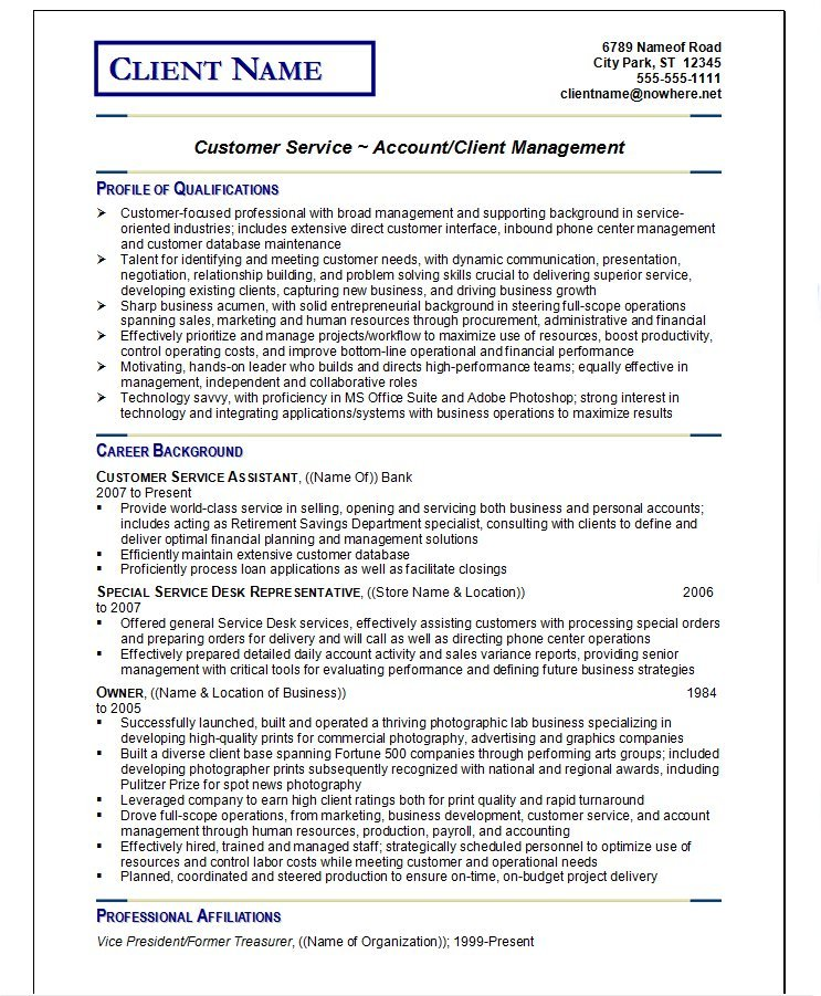 Example Resume #4  Customer Service Professional Resume