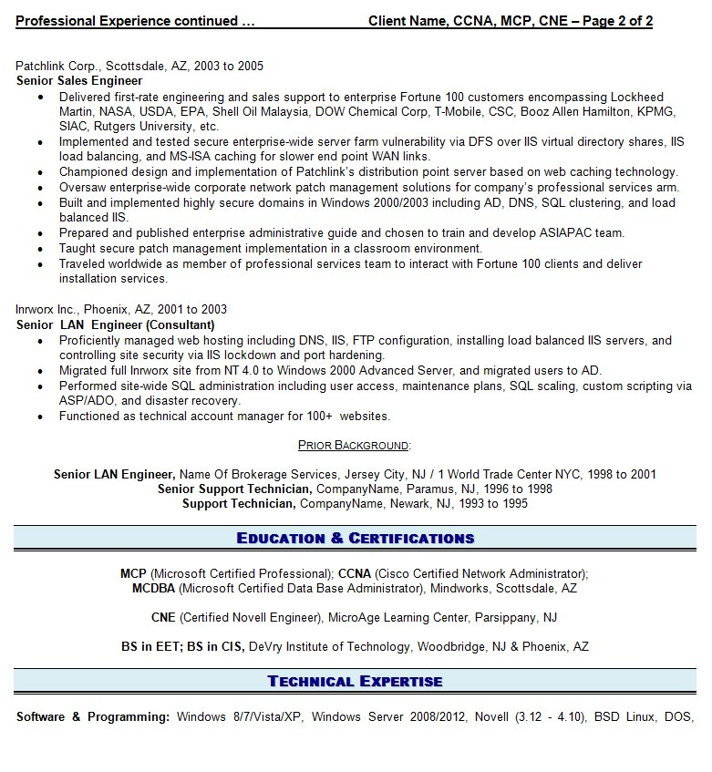 view a sample of an it resume we wrote for a client - Professional It Resume