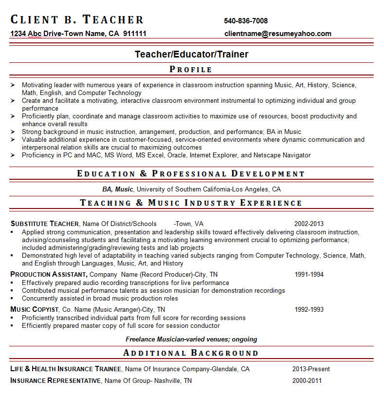Experienced Teacher Resumes  CityEsporaCo